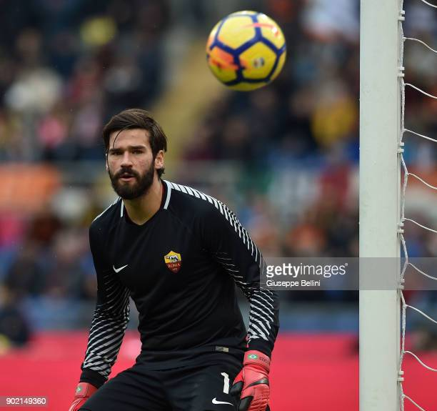 Alisson Becker of AS Roma in action during the serie A match between AS Roma and US Sassuolo at Stadio Olimpico on December 30 2017 in Rome Italy