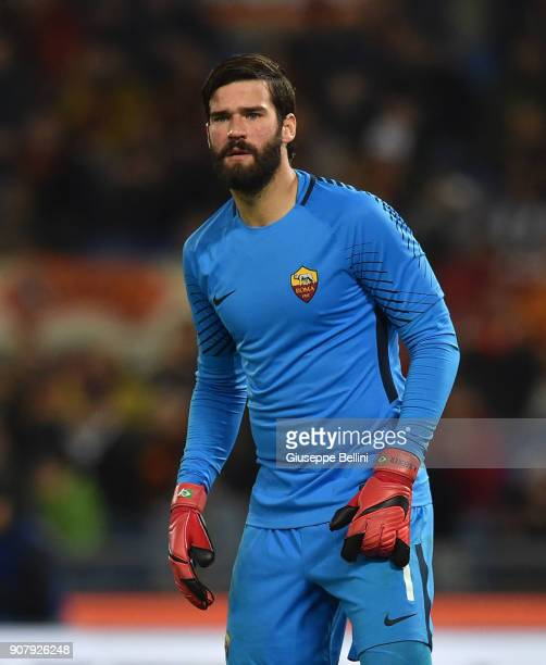 Alisson Becker of AS Roma in action during the serie A match between AS Roma and Atalanta BC at Stadio Olimpico on January 6 2018 in Rome Italy