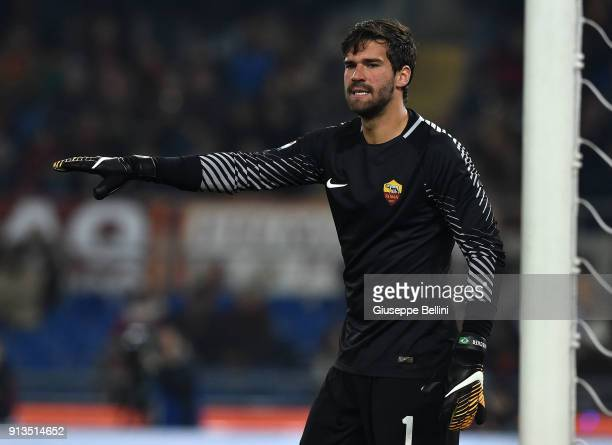 Alisson Becker of AS Roma in action during the serie A match between AS Roma and UC Sampdoria at Stadio Olimpico on January 28 2018 in Rome Italy