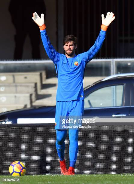 Alisson Becker of AS Roma in action during the serie A match between Hellas Verona FC and AS Roma at Stadio Marc'Antonio Bentegodi on February 4 2018...