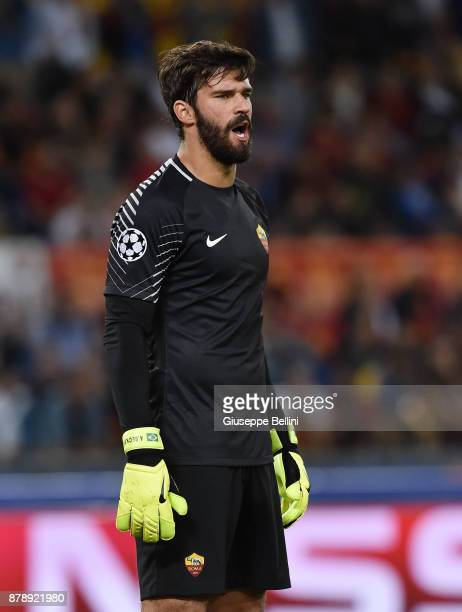 Alisson Becker of AS Roma in action during the UEFA Champions League group C match between AS Roma and Atletico Madrid at Stadio Olimpico on...