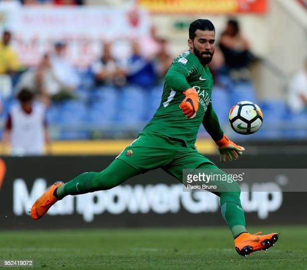Alisson Becker of AS Roma kicks the ball during the serie A match between AS Roma and AC Chievo Verona at Stadio Olimpico on April 28 2018 in Rome...