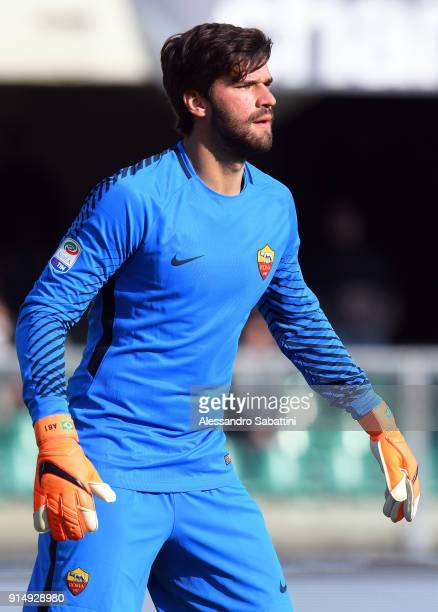 Alisson Becker of AS Roma looks on during the serie A match between Hellas Verona FC and AS Roma at Stadio Marc'Antonio Bentegodi on February 4 2018...