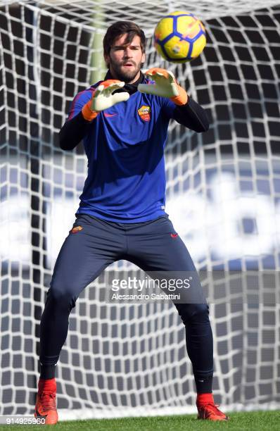 Alisson Becker of AS Roma warms up before the serie A match between Hellas Verona FC and AS Roma at Stadio Marc'Antonio Bentegodi on February 4 2018...