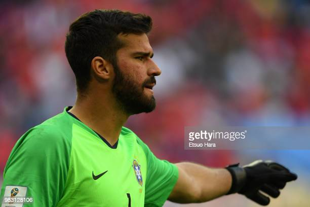 Alisson Becker of Brazil gestures during the 2018 FIFA World Cup Russia group E match between Brazil and Costa Rica at Saint Petersburg Stadium on...
