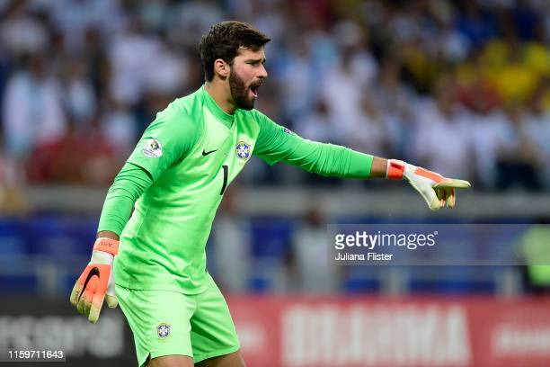Alisson Becker of Brazil gestures during the Copa America Brazil 2019 Semi Final match between Brazil and Argentina at Mineirao Stadium on July 02...