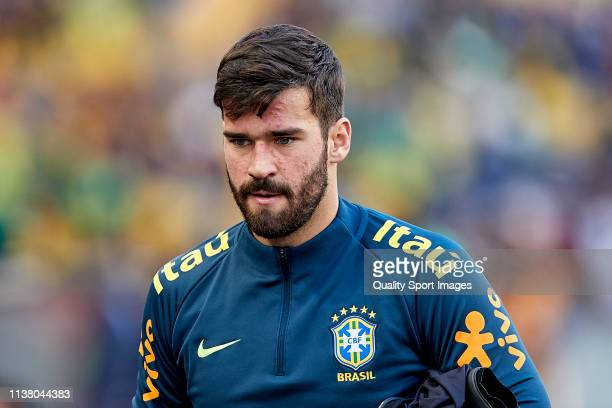 Alisson Becker of Brazil looks on prior to the International Friendly match between Brazil and Panama at Estadio do Dragao on March 23 2019 in Porto...
