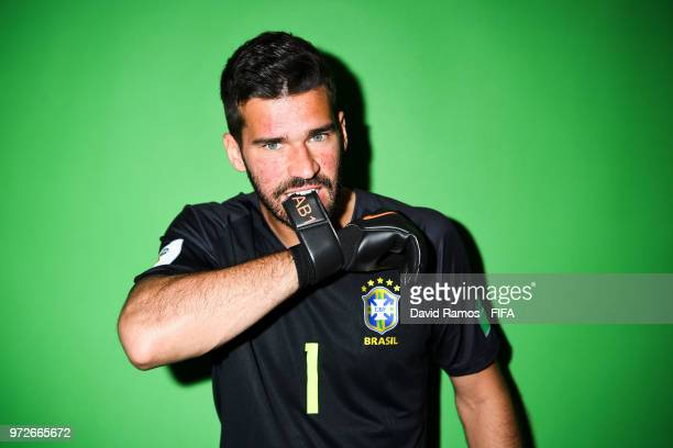 Alisson Becker of Brazil poses during the official FIFA World Cup 2018 portrait session at the Brazil Team Camp on June 12 2018 in Sochi Russia