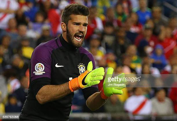 Alisson Becker of Brazil reacts during the 2016 Copa America Centenario Group B match between Brazil and Peru at Gillette Stadium on June 12 2016 in...