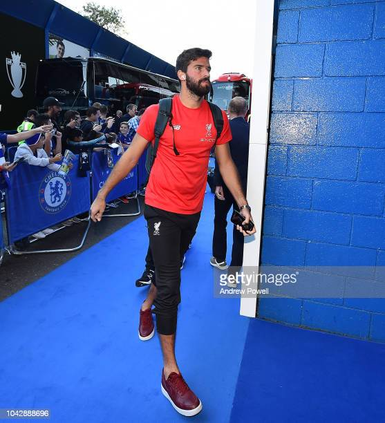 Alisson Becker of Liverpool arrives before the Premier League match between Chelsea FC and Liverpool FC at Stamford Bridge on September 29 2018 in...