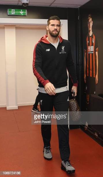 Alisson Becker of Liverpool arrives for the the Premier League match between AFC Bournemouth and Liverpool FC at Vitality Stadium on December 8 2018...