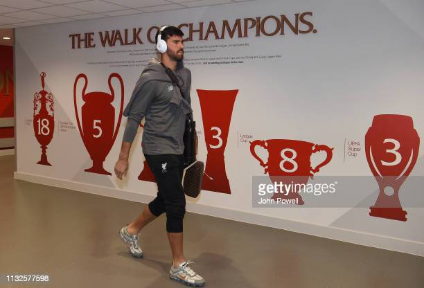 Alisson Becker of Liverpool arriving before the Premier League match between Liverpool FC and Watford FC at Anfield on February 27 2019 in Liverpool...
