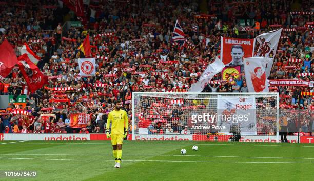 Alisson Becker of Liverpool before the Premier League match between Liverpool FC and West Ham United at Anfield on August 12 2018 in Liverpool United...