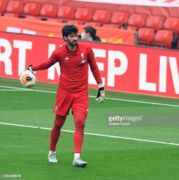 Alisson Becker of Liverpool before the Premier League match between Liverpool FC and Aston Villa at Anfield on July 05 2020 in Liverpool...