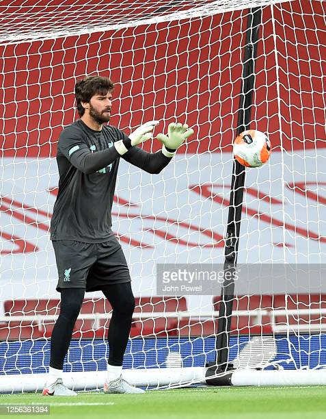 Alisson Becker of Liverpool before the Premier League match between Arsenal FC and Liverpool FC at Emirates Stadium on July 15 2020 in London England...