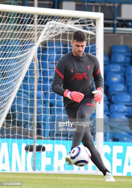 Alisson Becker of Liverpool before the Premier League match between Leeds United and Liverpool at Elland Road on April 19, 2021 in Leeds, England....