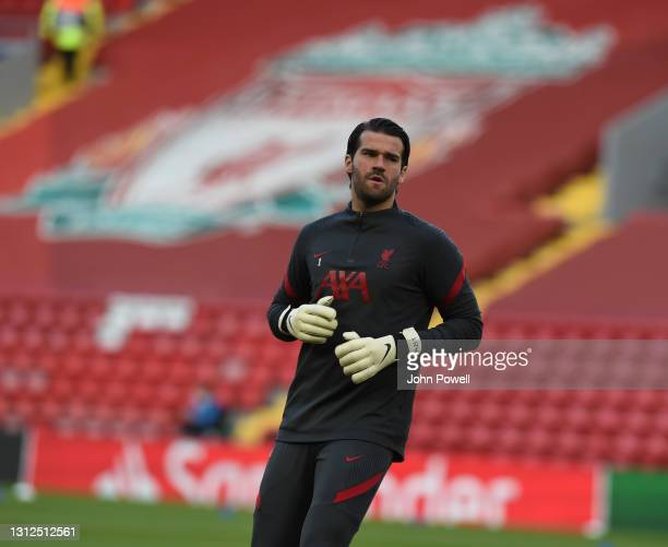 Alisson Becker of Liverpool before the UEFA Champions League Quarter Final Second Leg match between Liverpool FC and Real Madrid at Anfield on April...