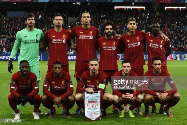 Alisson Becker of Liverpool, Dejan Lovren of Liverpool, Virgil van Dijk of Liverpool, Mohamed Salah of Liverpool, Roberto Firmino of Liverpool, Sadio...