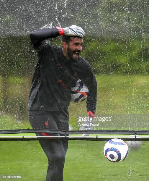 Alisson Becker of Liverpool during a training session at AXA Training Centre on May 21, 2021 in Kirkby, England.