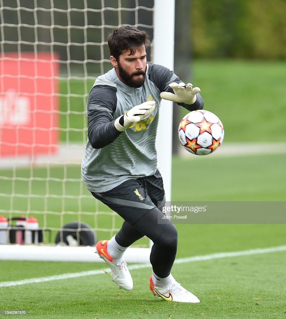 Alisson Becker of Liverpool during a training session at ...