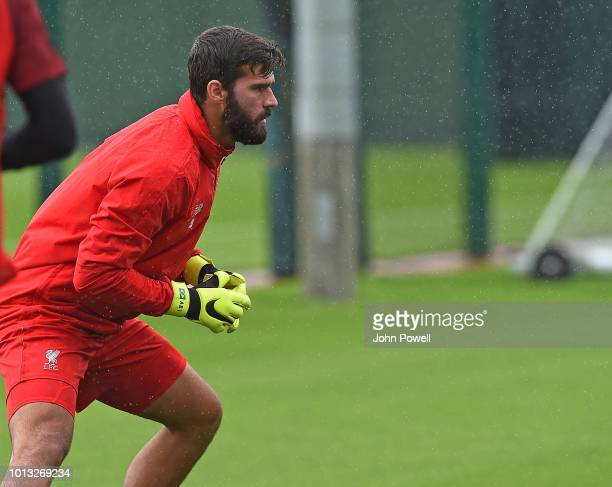Alisson Becker of Liverpool during a training session at Melwood Training Ground on August 8 2018 in Liverpool England