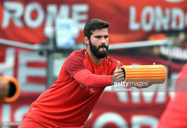 Alisson Becker of Liverpool during a training session at Melwood Training Ground on August 15 2018 in Liverpool England