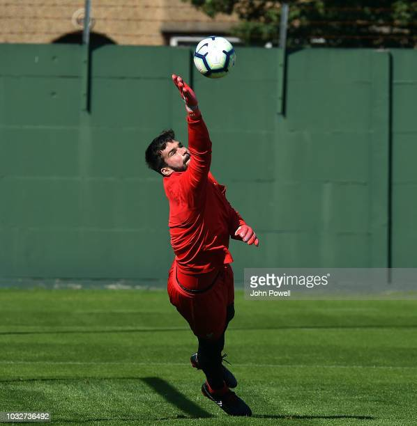 Alisson Becker of Liverpool during a training session at Melwood Training Ground on September 13 2018 in Liverpool England