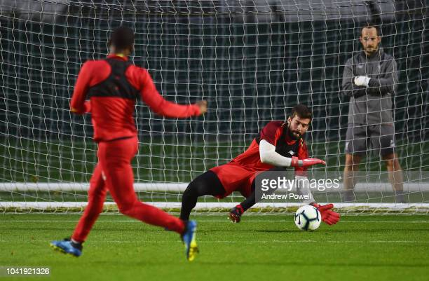 Alisson Becker of Liverpool during a training session at Melwood Training Ground on September 27 2018 in Liverpool England