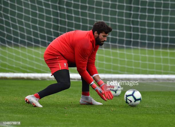 Alisson Becker of Liverpool during a training session at Melwood Training Ground on October 5 2018 in Liverpool England