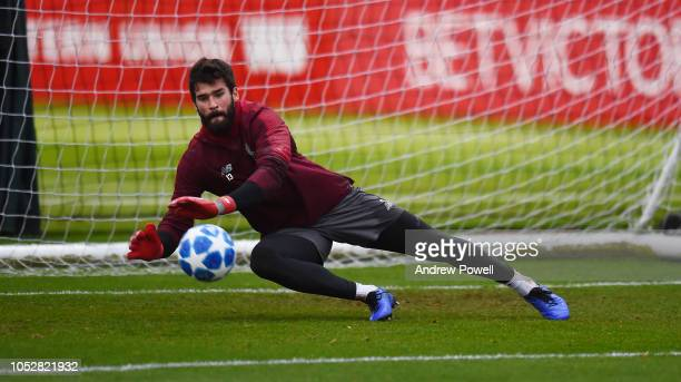 Alisson Becker of Liverpool during a training session at Melwood Training Ground on October 23 2018 in Liverpool England