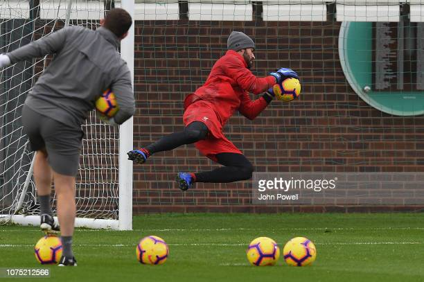Alisson Becker of Liverpool during a training session at Melwood Training Ground on December 27 2018 in Liverpool England