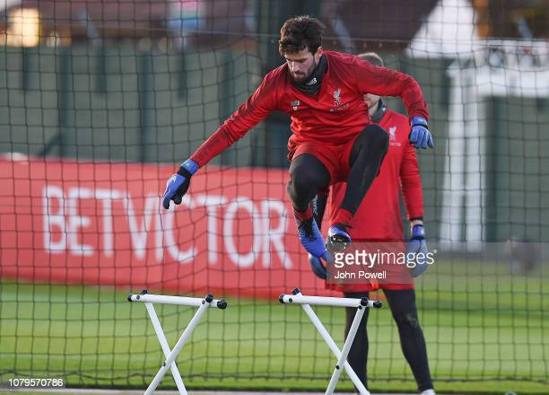 Alisson Becker of Liverpool during a training session at Melwood Training Ground on January 9 2019 in Liverpool England