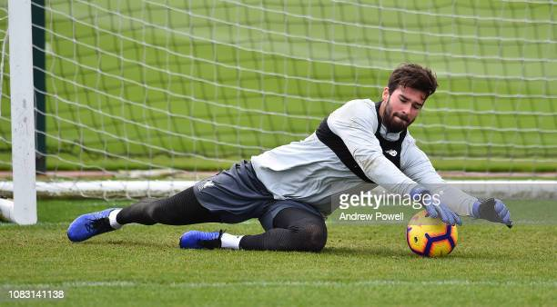 Alisson Becker of Liverpool during a training session at Melwood Training Ground on January 15 2019 in Liverpool England