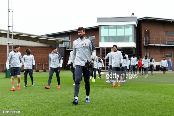 Alisson Becker of Liverpool during a training session at Melwood Training ground on March 12 2019 in Liverpool England