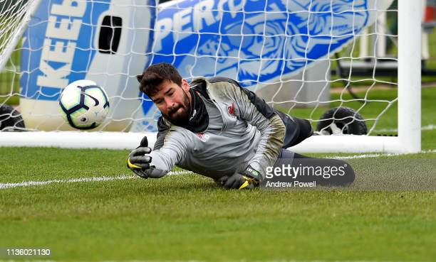 Alisson Becker of Liverpool during a training session at Melwood Training Ground on March 15 2019 in Liverpool England