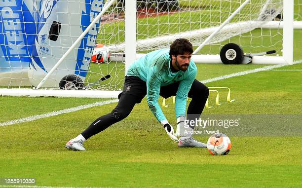 Alisson Becker of Liverpool during a training session at Melwood Training Ground on July 13 2020 in Liverpool England