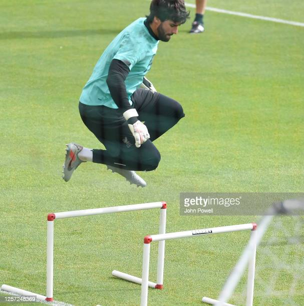 Alisson Becker of Liverpool during a training session at Melwood Training Ground on July 20 2020 in Liverpool England