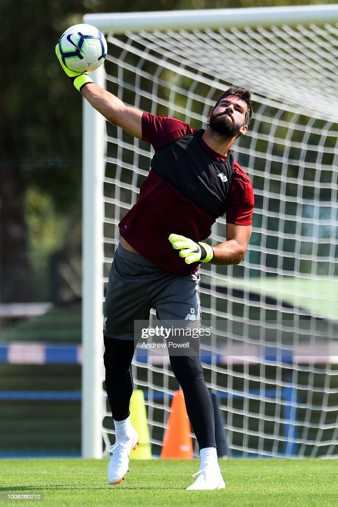 Alisson Becker of Liverpool during a training session on July 31, 2018 in Evian-les-Bains, France.