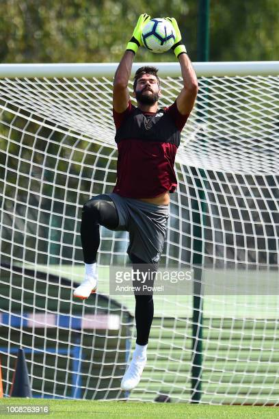 Alisson Becker of Liverpool during a training session on July 31 2018 in EvianlesBains France