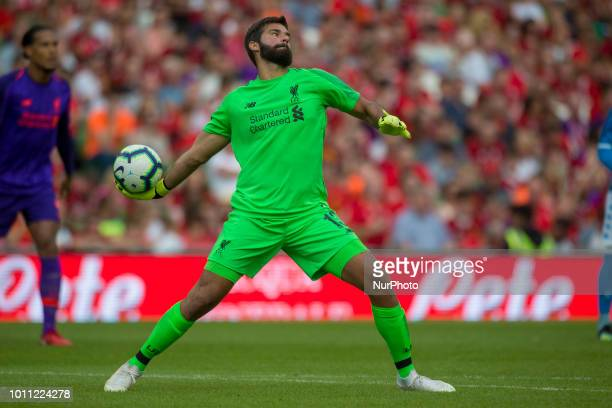 Alisson Becker of Liverpool during the International Club Friendly match between Liverpool FC and SSC Napoli at Aviva Stadium in Dublin Ireland on...