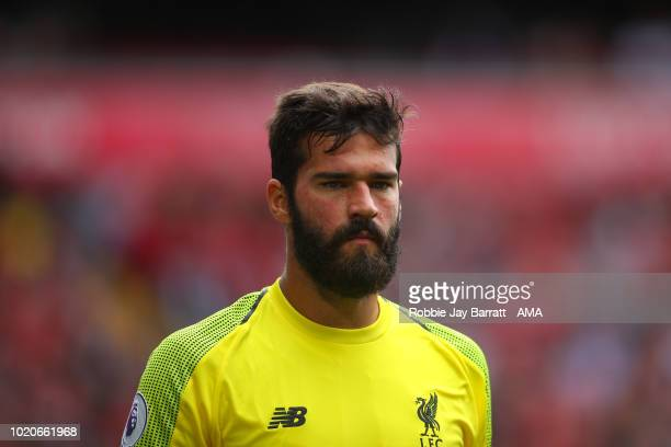 Alisson Becker of Liverpool during the Premier League match between Liverpool FC and West Ham United at Anfield on August 12 2018 in Liverpool United...