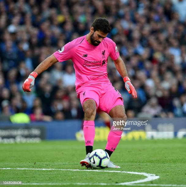 Alisson Becker of Liverpool during the Premier League match between Chelsea FC and Liverpool FC at Stamford Bridge on September 29 2018 in London...
