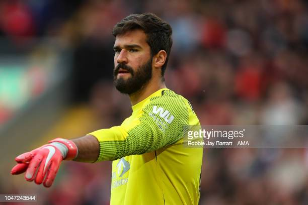 Alisson Becker of Liverpool during the Premier League match between Liverpool FC and Manchester City at Anfield on October 7 2018 in Liverpool United...