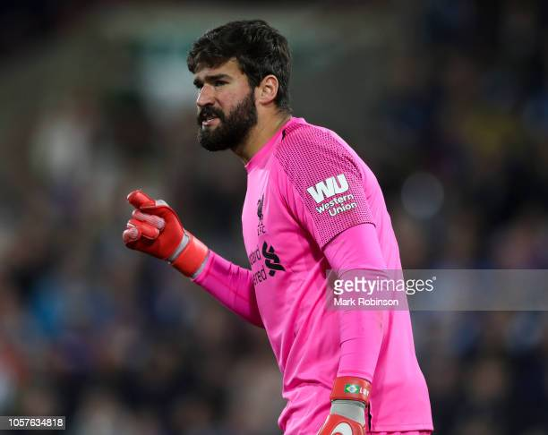 Alisson Becker of Liverpool during the Premier League match between Huddersfield Town and Liverpool FC at John Smith's Stadium on October 20 2018 in...