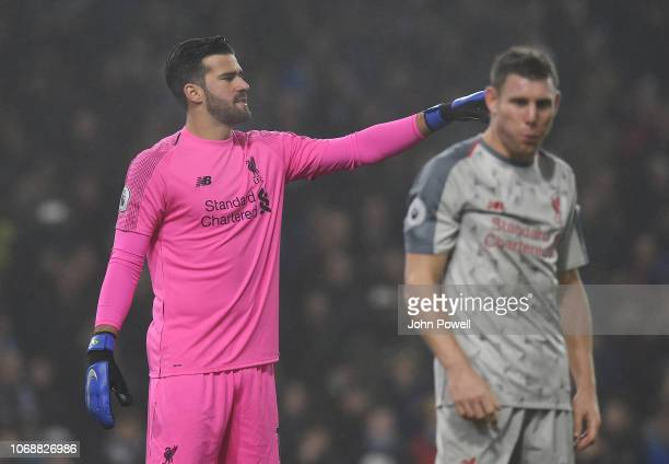 Alisson Becker of Liverpool during the Premier League match between Burnley FC and Liverpool FC at Turf Moor on December 4 2018 in Burnley United...