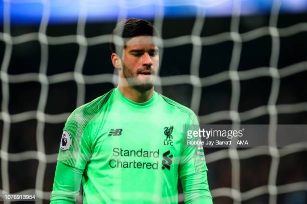 Alisson Becker of Liverpool during the Premier League match between Manchester City and Liverpool FC at Etihad Stadium on January 3 2019 in...