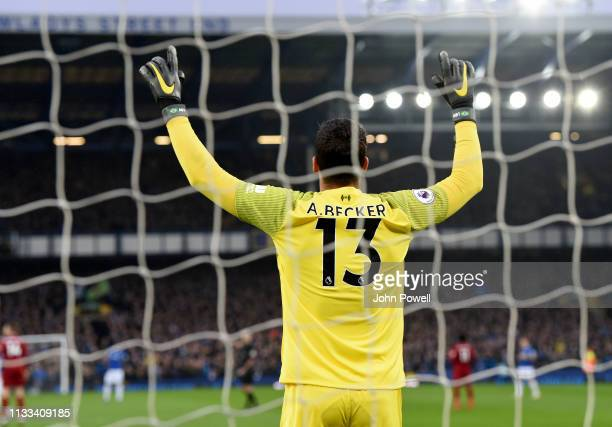 Alisson Becker of Liverpool during the Premier League match between Everton FC and Liverpool FC at Goodison Park on March 03 2019 in Liverpool United...