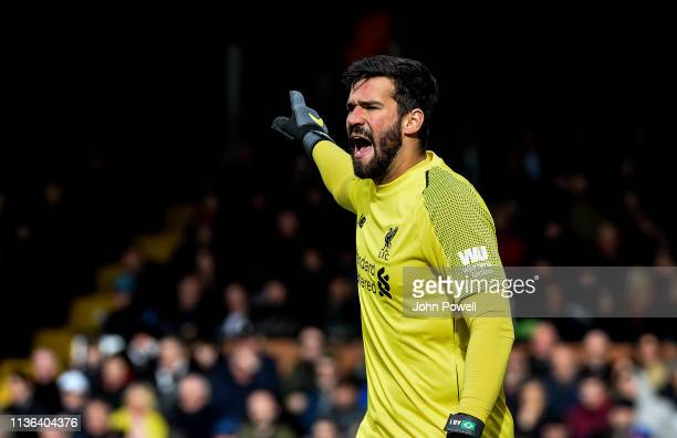 Alisson Becker of Liverpool during the Premier League match between Fulham FC and Liverpool FC at Craven Cottage on March 17 2019 in London United...