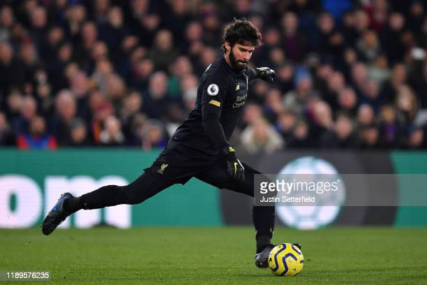 Alisson Becker of Liverpool during the Premier League match between Crystal Palace and Liverpool FC at Selhurst Park on November 23 2019 in London...