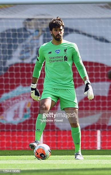 Alisson Becker of Liverpool during the Premier League match between Liverpool FC and Aston Villa at Anfield on July 05 2020 in Liverpool...
